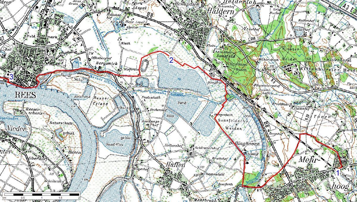 Karte 1 - Hamminkeln bis Rees