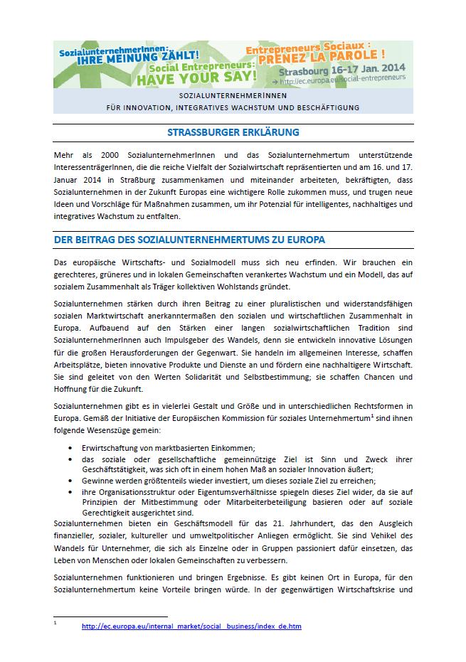 Strasbourg Erklärung Seite 1