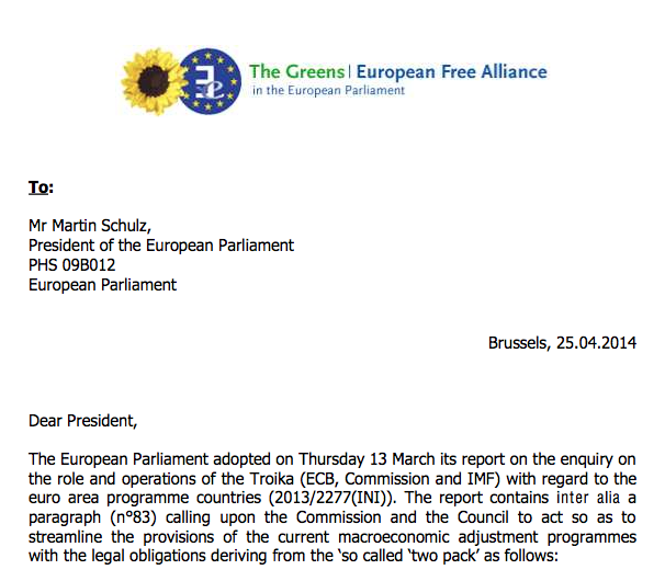 Letter to President Schulz - Follow-up on the Troïka report - 25.04.2014