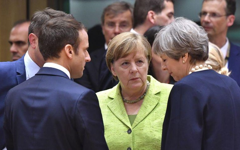 EU summit: Angela Merkel, Emmanuel Macron, Theresa May (Quelle: gotallin.info)