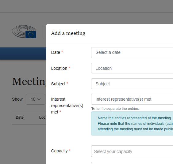 Screenshot des neuen IT-tools, um Lobbytreffen der Abgeordneten zu veröffentlichen